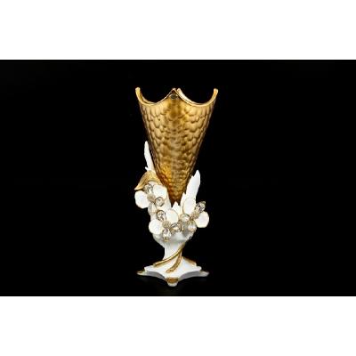 "Цветочница (ваза для цветов)  45 см ""Cevik Gold"" Белые цветы"