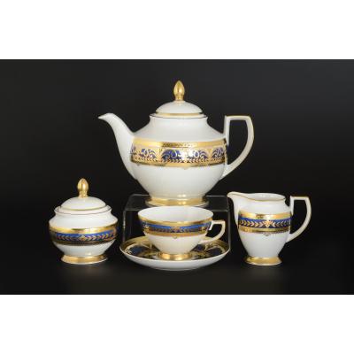"""Чайный сервиз на 6 перс. 17 пред. """"Arabesque BLUE Gold"""" Falken Porsellan"""
