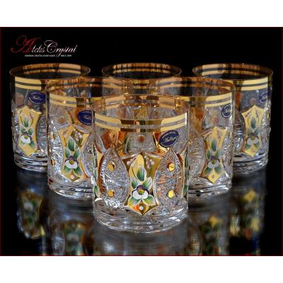 """Набор стаканов (350 мл) 9,5 см 6 шт """"Хрусталь с золотом"""" A. Crystal"""