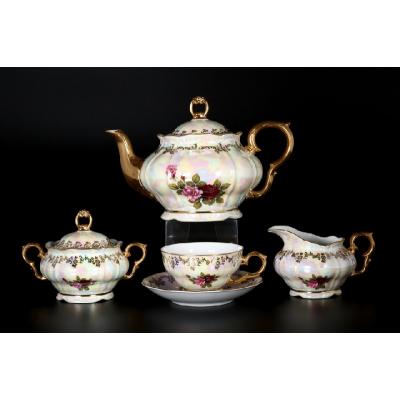 "Чайный сервиз на 6 перс. 15 пред.  ""Роза Магнолия Гранд"""