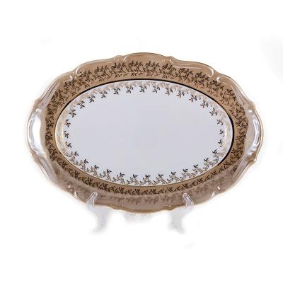 """Блюдо овальное 33 см """"Бавария Бежевый лист"""" Bavarian Porcelain (Бавария)"""