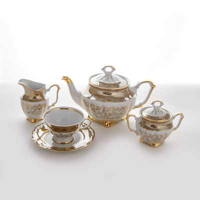 "Чайный сервиз на 6 перс. 15 пред.  ""Бавария Бежевый лист"" Bavarian Porcelain (Бавария)"