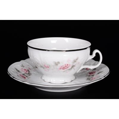 "Набор для чая (220 мл) на 6 перс. 12 пред. ""Роза серая/платина"" Bernadotte (Бернадот)"