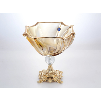 """Фруктовница на ножке 25 см """"NEPTUNE"""" Bohemia Gold Crystal (Богемия)"""