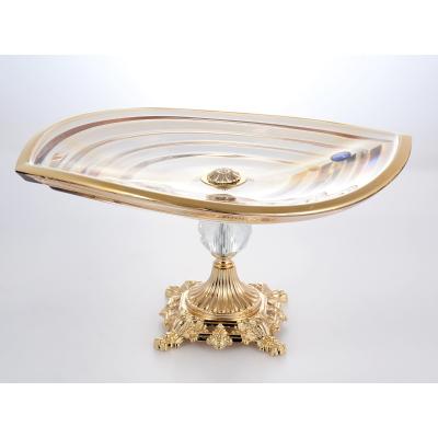 """Фруктовница на ножке 36 см """"Wave R-G"""" Bohemia Gold Crystal (Богемия)"""