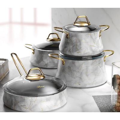 Набор кастрюль с гранит. покрытием. 9 пред. Бриони Вайт Brioni Kitchenware
