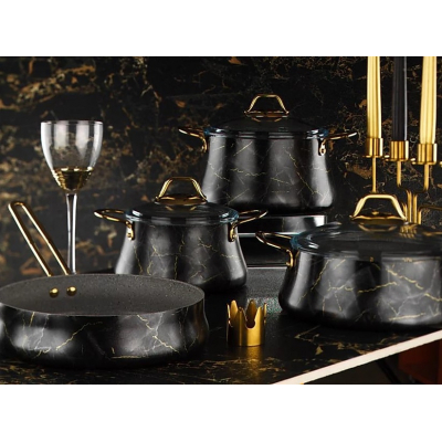 Набор кастрюль с гранит. покрытием. 9 пред. Бриони Блэк Brioni Kitchenware