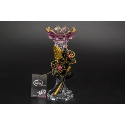 """Подсвечник розовый 25 см  """"Cevik Group"""" Черные цветы"""
