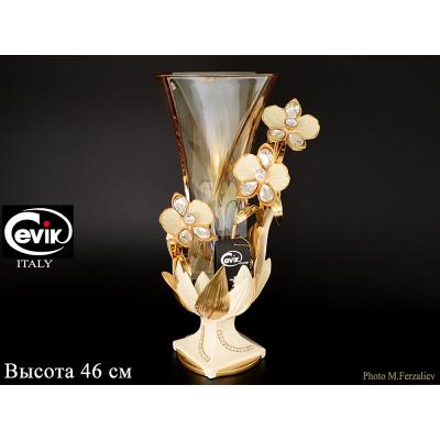 """Ваза для цветов на квадратной ножке 46 см  """"Cevik Group"""" Кремовые цветы"""