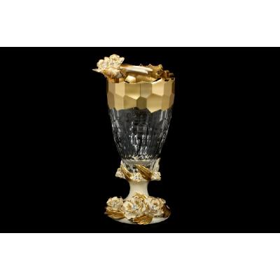 """Цветочница (ваза для цветов)  """"Cevik Group Gold"""" Кремовые Маргаритки"""