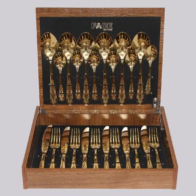 """Набор столовых приборов на 6 перс. 24 пред. """"Antique Titanium Gold"""" Face"""