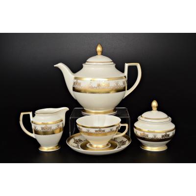 """Чайный сервиз на 6 перс. 17 пред.  """"Crem Saphir Gold""""  Falken Porsellan"""