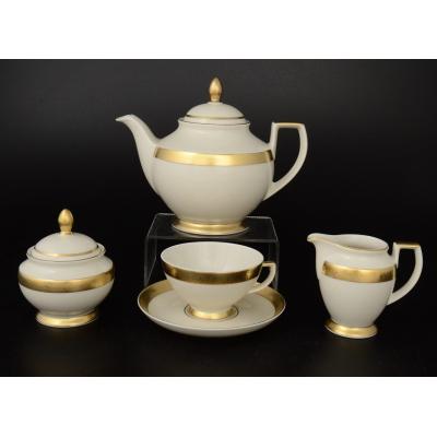 """Чайный сервиз на 6 перс. 17 пред. """"Crem Gold 3064""""  Falken Porsellan"""