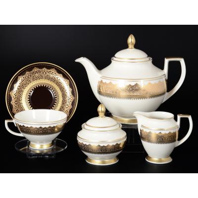 """Чайный сервиз на 6 перс. 17 пред.  """"Agadir Brown Gold"""" Falken Porsellan"""