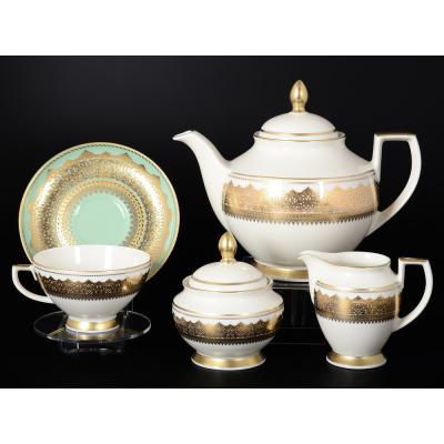 """Чайный сервиз на 6 перс. 17 пред.  """"Agadir Seladon Gold"""" Falken Porsellan"""