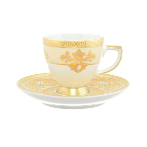 Набор кофейных пар Alena 3D Cream Gold Constanza на 6 перс. 12 пред. Falkenporzellan Германия