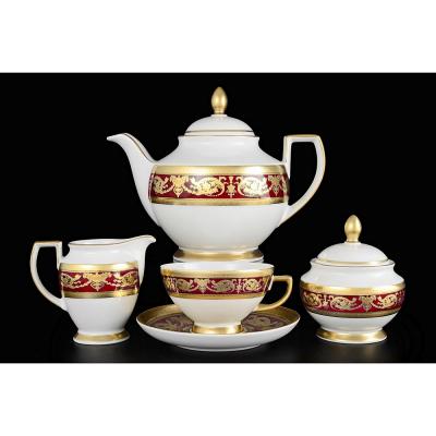 "Чайный сервиз на 6 перс. 15 пред.  ""Imperial Bordeaux Gold""  Falken Porsellan"