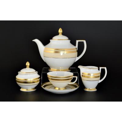 """Чайный сервиз на 6 перс. 17 пред.  """"Cream Gold 9039""""  Falken Porsellan"""