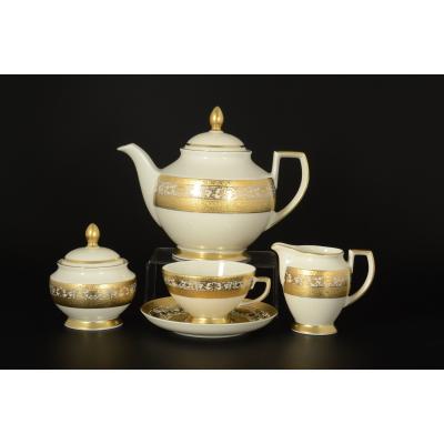 """Чайный сервиз на 6 перс. 17 пред. """"Royal Cream Gold""""  Falken Porsellan"""