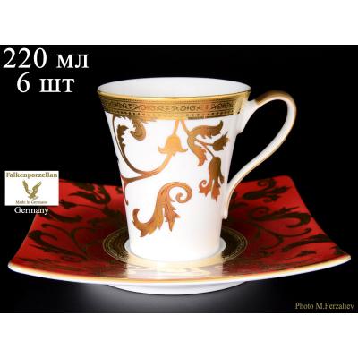 "Набор чайных пар на 6 перс. 12 пред. ""Tosca Bordeaux Gold""  Falken Porsellan"