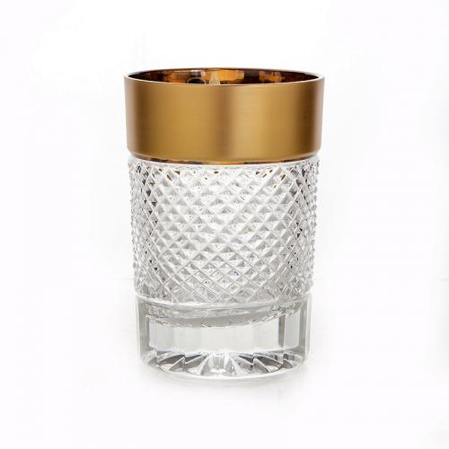"""Набор стаканов 210 мл  6 шт """"Фелиция хрусталь с золотом"""" Glasspo (Гласпо) Чехия"""