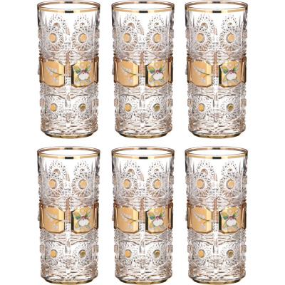 """Набор стаканов для воды 370 мл 6 шт """"Роспись Хрусталь с Золотом"""" Bohemia (Богемия)"""