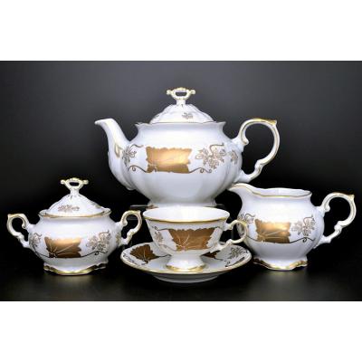 """Чайный сервиз на 6 перс. 15 пред.  """"Мария Луиза Кленовый лист Белый"""""""