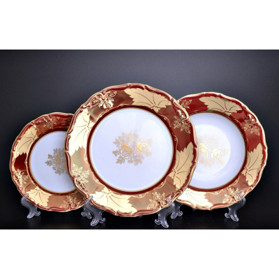 """Набор тарелок  на 6 перс. 18 шт """"Мария Луиза Кленовый лист Красный"""" Carlsbad (Карлсбад)"""