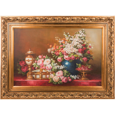 "Картина масло на холсте 114 х 86 см ""Букет в синей вазе"""