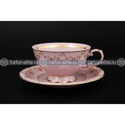 """Набор чайных пар (200мл) на 6 перс. 12 пред. """"Соната Розовый фарфор 158"""" Leander (Леандер)"""