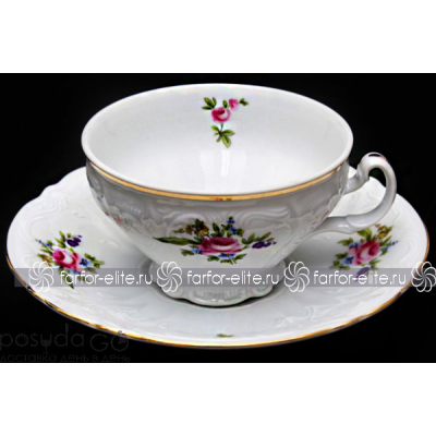 """Набор для чая (низкие на ножке) 220 мл на 6 перс. 12 пред. """"Полевой цветок"""" Bernadotte (Бернадот)"""
