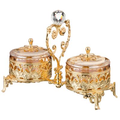 """Набор конфетниц с крышками из 2 шт  22*10 см, высота 18 см """"Donna Gold"""" Rosaperla (Розаперла)"""