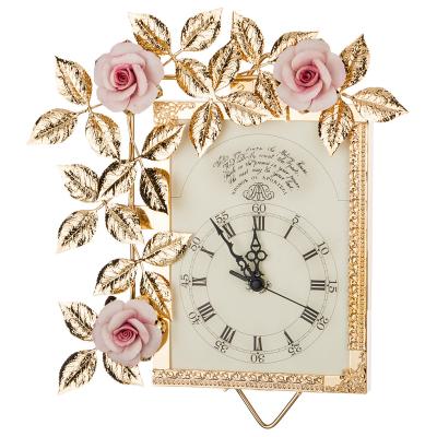 """Часы настенные с розовыми цветами 37*27 см, циферблат 14*14см """"Donna Gold"""" Rosaperla (Розаперла)"""