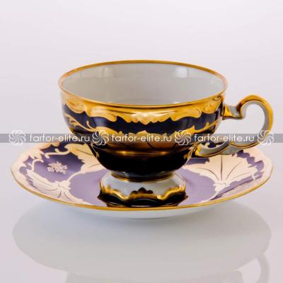 """Набор чайный на 6 перс. 12 пред. """"Кленовый лист синий"""" Weimar Porzellan (Веймар)"""