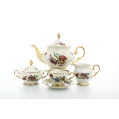 """Чайный сервиз на 6 перс.17 пред. """"Мейсенский букет Слоновая кость"""" Sterne porcelan (Стерн Порселан)"""