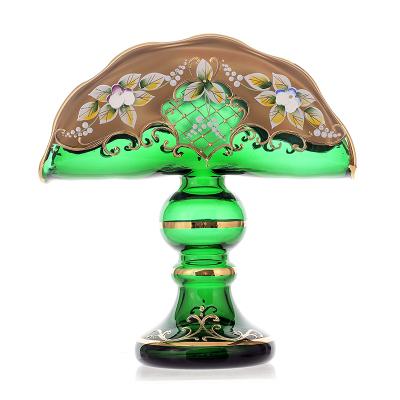 Салфетница на ножке Лепка зеленая Union Glass