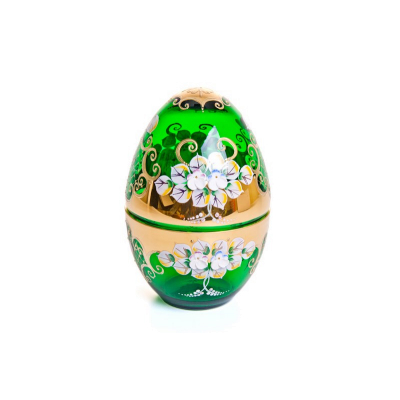 Шкатулка яйцо Лепка зеленая Union Glass