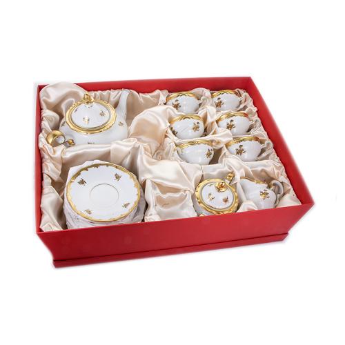 Чайный сервиз  на 6 перс. 21 пред. Роза Золотая 1007 подарочный WeimarPorzellan (Веймар) Германия