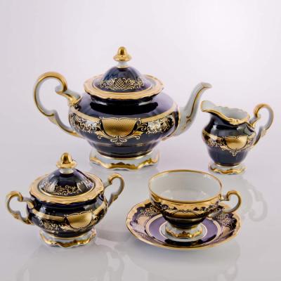 """Чайный сервиз на 6 перс. 21 пред. (подарочный) """"Симфония Кобальт 8012"""" Weimar Porzellan (Веймар)"""