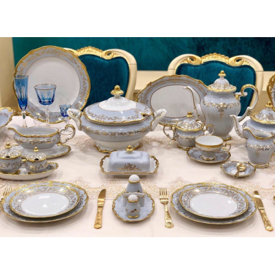 """Чайно - столовый сервиз на 12 перс.  104 пред. """"Ювел Голубой"""" Weimar Porzellan (Веймар)"""
