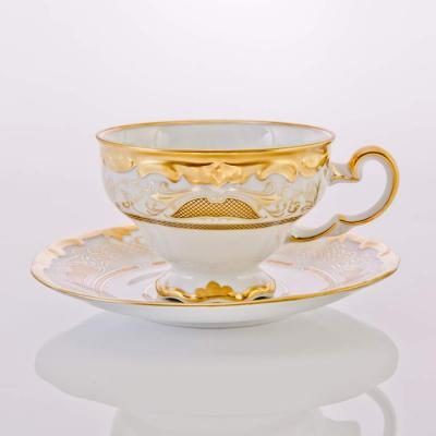 """Набор чайных пар (210мл) на 6 перс. 12пред. """"Симфония Золотая"""" Weimar Porzellan (Веймар)"""